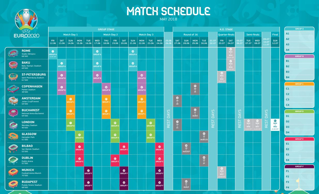 France Portugal Euro 2020 Calendrier.Euro 2020 Full Schedule European Football Championship